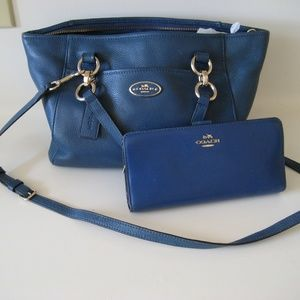 COACH pebble leather handbag & wallet